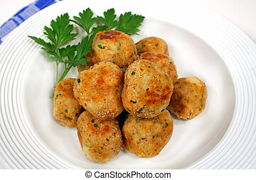 Chicken Meat Balls - Freshly fried chicken meat balls ready...