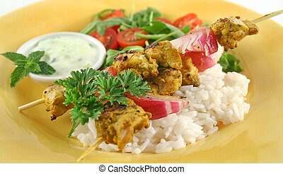 Tandoorie Chicken Kabobs - Chicken tandoori skewers with...