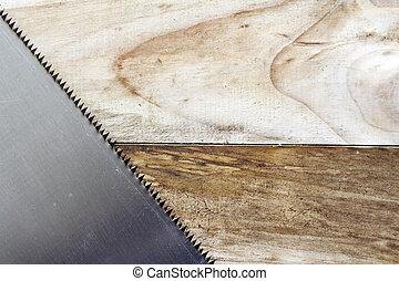 Saw blade teeth on wood
