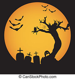 Grunge Halloween night background vector