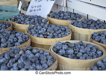 Blueberries for sale at a local Farmers Market in rural...