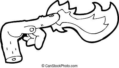 cartoon hand casting spell