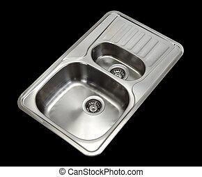 washbasin - stainless steel washbasin isolated at black...