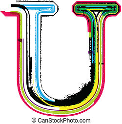 Colorful Grunge LETTER U