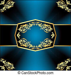 a gold background a frame with a vegetative ornament -...