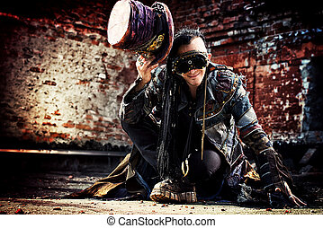 hatter man - Portrait of a steampunk man in the ruins.