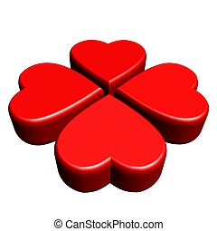 Red 4 leaves clover