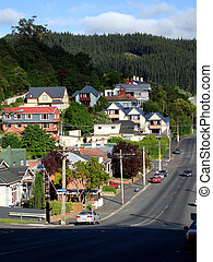 Looking down a steep street, Dunedin, New Zealand - Dunedin,...