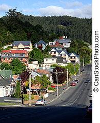 Looking down a steep street, Dunedin, New Zealand - Dunedin,...