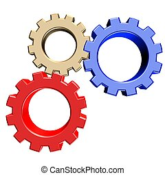 3 colorful gears - 3D rendering of gears