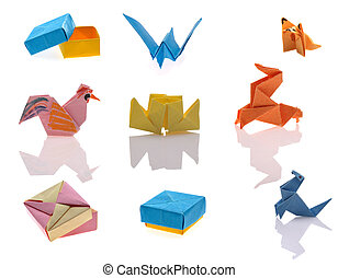 tiny origami - colorful tiny stuff of origami on white...