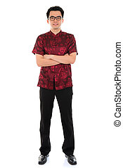 Chinese cheongsam man - Full body portrait Asian male with...