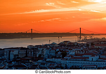 Landscape of city Lisbon - The landscape of city Lisbon at...