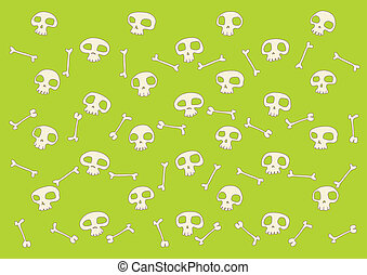 funny skulls background - pattern made of funny skulls and...