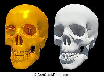 3d golden, white skull