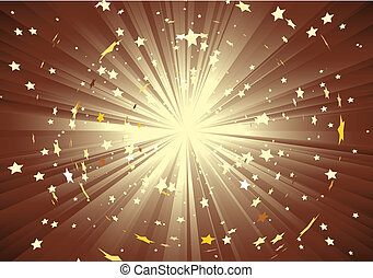 light rays and burst of stars - brown background with light...