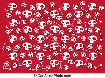 funny skulls - Pattern made of funny skulls and bones on...