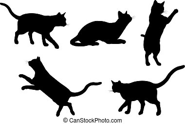 Cats - Silhouettes of cats in various poses