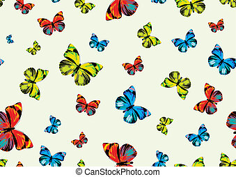 funky butterflies - many funky butterflies of different...