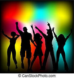 Disco time - Silhouettes of people dancing on colourful...