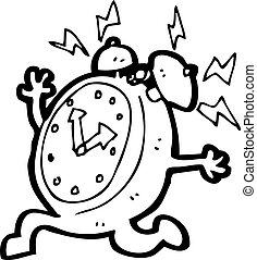 cartoon running alarm clock