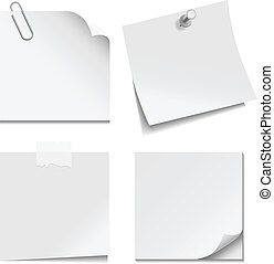 White Paper Notes - Set of white paper notes with paper...