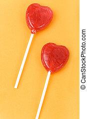 Red Heart Shape Lollipop close up