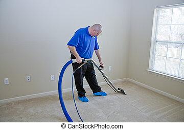 alfombra, vapor, limpieza