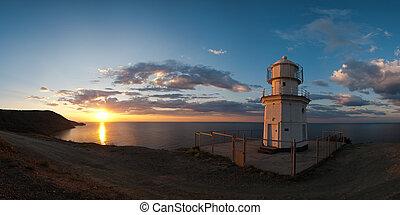 Panorama sunrise at Cape Meganom