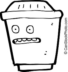 take out coffee cartoon character