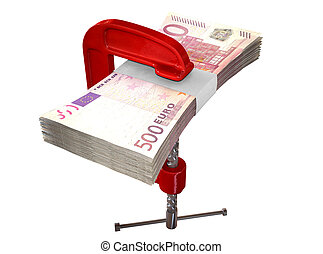Clamped Euro Notes - A red clamp clamping down on a bundle...
