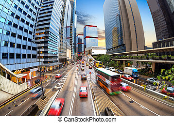 traffic in city at night - Night view of Hong Kong's...