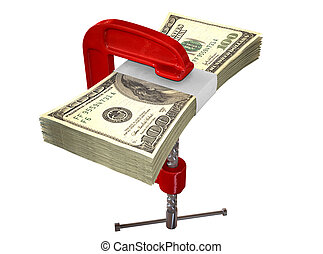 Clamped American Dollar Notes - A red clamp clamping down on...