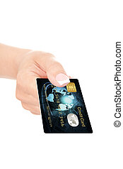 closeup of blue credit card holded by hand over white...