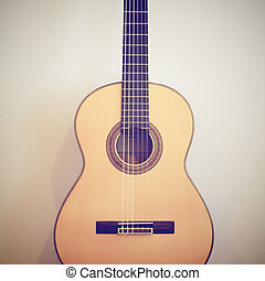 Classical guitar with retro filter effect