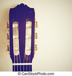 Classical guitar head with retro filter effect