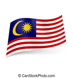 State flag of Malaysia - National flag of Malaysia: red and...