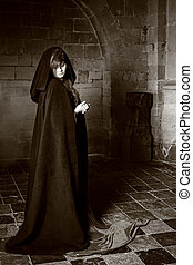 Vampire woman in black and white