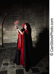 Gothic sorceress - Red sorceress with black cape and red...