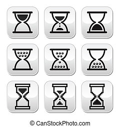 Hourglass, sandglass vector buttons - Time measuring buttons...
