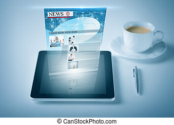 tablet pc with news feed - business and technology concept -...