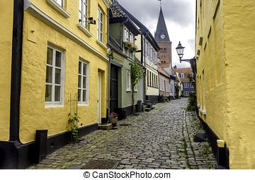 Aalborg, Dinamarca, estreito, ruas
