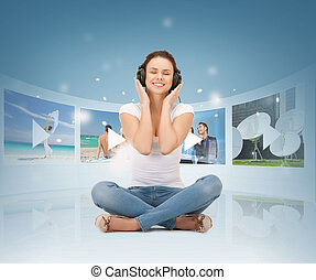 happy woman with headphones - media, tv, music,...