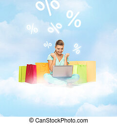woman doing internet shopping - internet shopping and future...