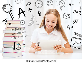 girl with tablet pc and books at school - education, school,...