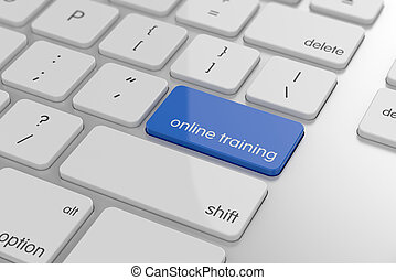 Online training button on keyboard with soft focus