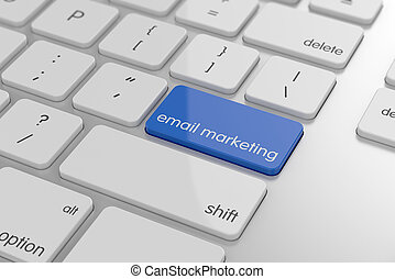 Email marketing button on keyboard with soft focus