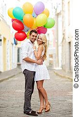 par, coloridos, balões
