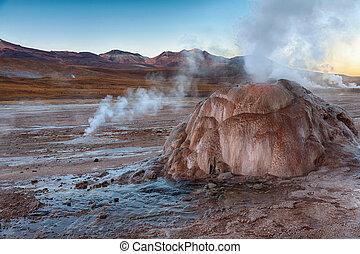Geyser field El Tatio in Atacama region, Chile