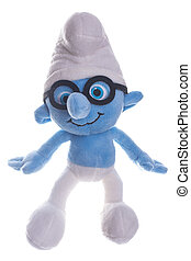 Plush smurf isolated on white background